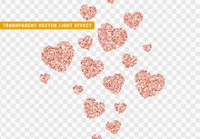 Pink Heart Bright Glitter, Isolated With Transparent Background.
