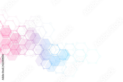 Abstract molecular structure and chemical elements Canvas Print
