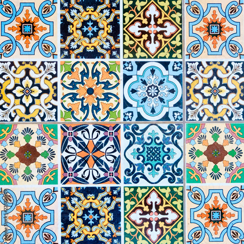 Deurstickers Marokkaanse Tegels ceramic tiles patterns