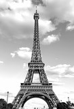 Fototapeta Wieża Eiffla - Eiffel Tower with black and white effect in Paris France