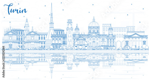 Photo  Outline Turin Italy City Skyline with Blue Buildings and Reflections