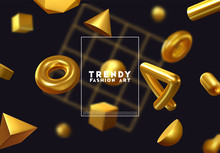 Creative Design Poster, Minimal Art Trendy Vector Illustration. Abstract Background With Shapes 3d. Pattern With Geometric Figures. Realistic Isometric Elements Of Design.