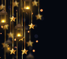 Gold Star Decorations With Old Lamps Hanging On Golden Ribbon. Background Of Bright Bokeh Flares. Decor Vintage Lanterns