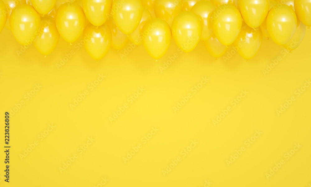 Fototapety, obrazy: Festive yellow background with balloons, 3d render