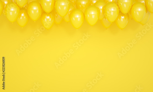Photo Festive yellow background with balloons, 3d render