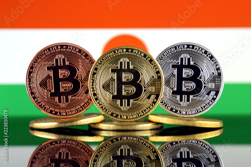 Staande foto Rotterdam Physical version of Bitcoin (BTC) and Niger Flag. Conceptual image for investors in High Technology (Cryptocurrency, Blockchain Technology, Smart Contracts, ICO).