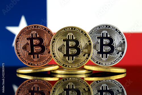 Poster Texas Physical version of Bitcoin (BTC) and Texas State Flag. Conceptual image for investors in High Technology (Cryptocurrency, Blockchain Technology, Smart Contracts, ICO).