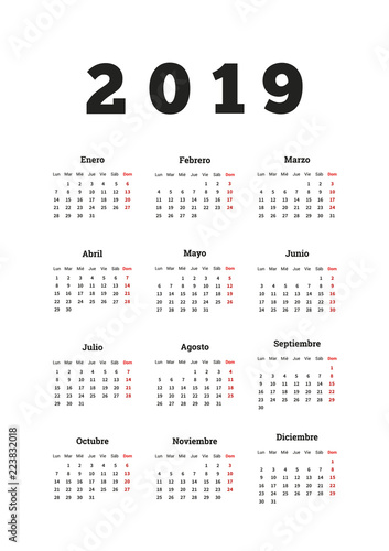 Calendario Julio 2019 Vector.2019 Year Simple Calendar In Spanish A4 Vertical Sheet