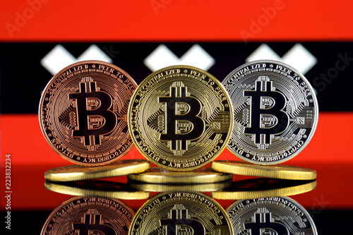 Photo  Physical version of Bitcoin (BTC) and Amsterdam City Flag