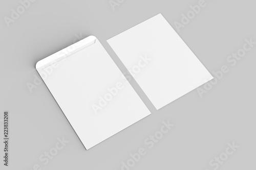 Fotografía C4 envelope mock up isolated on soft gray background