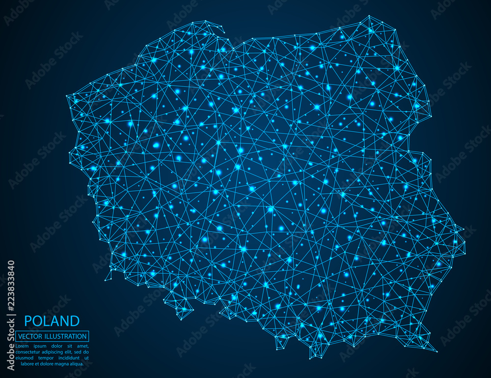 Fototapety, obrazy: A map of Poland consisting of 3D triangles, lines, points, and connections. Vector illustration of the EPS 10.