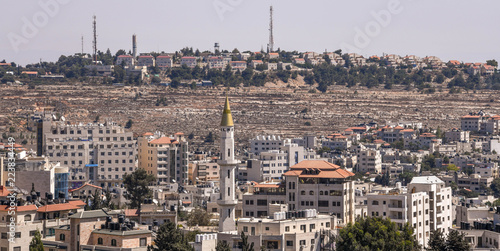 Photo Stands Egypt An Israeli settlement on a hill overlooking Ramallah in the West Bank of Palestine near Jerusalem