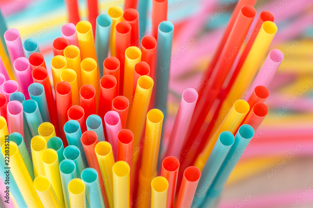 Fototapety, obrazy: Rainbow colors plastic straws