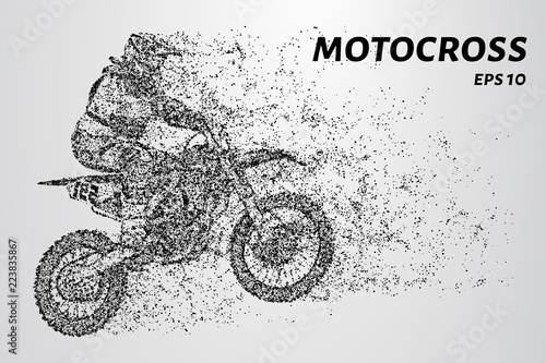 Fotomural Motocross particles. The rider enters the turn.