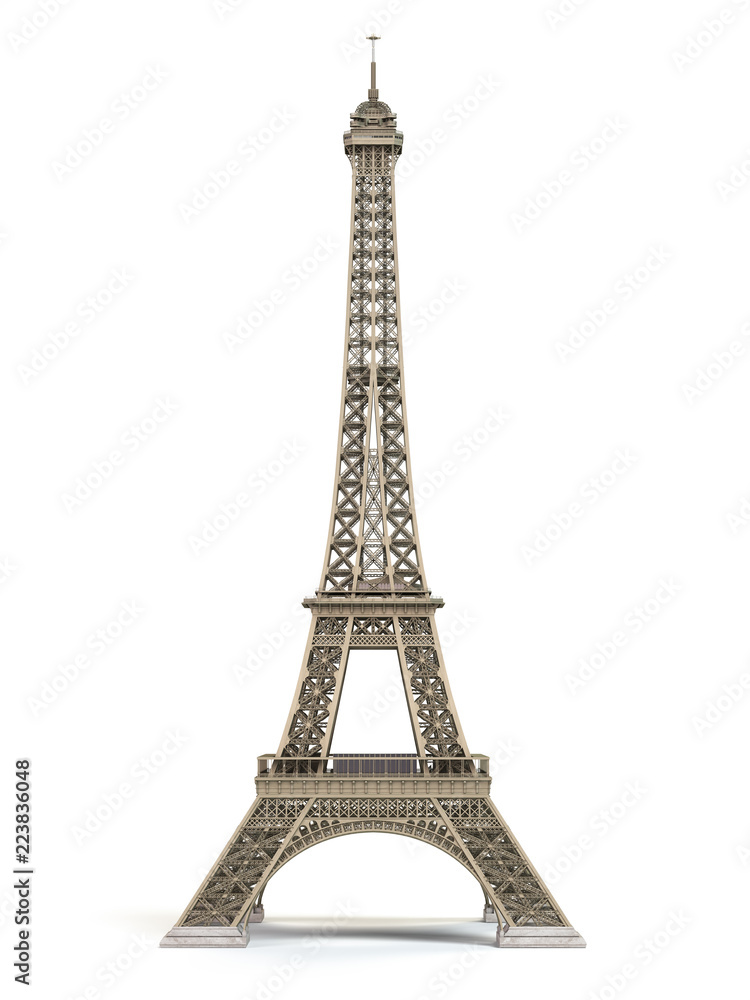 Fototapeta Eiffel Tower metallic isolated on a white background