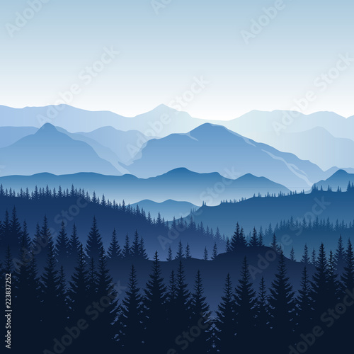 Foto op Aluminium Nachtblauw Vector blue misty landscape with silhouettes of mountains, hills and trees