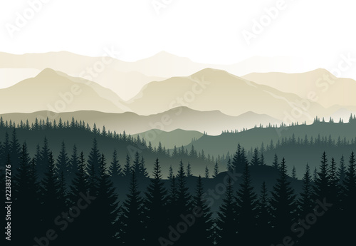 Spoed Foto op Canvas Zwart Vector beautiful morning landscape with misty green forests and mountains