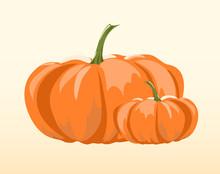 Two Pumpkins Over Beige