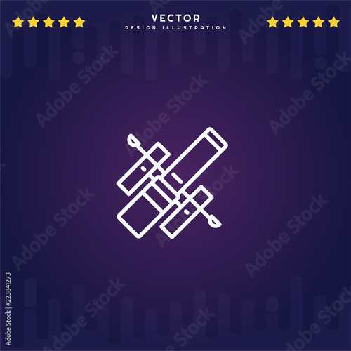 Fototapeta Outline Hubble Space Telescope icon isolated on gradient background, for website design, mobile application, logo, ui