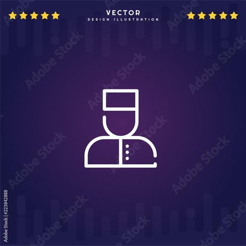 Fotografie, Obraz  Outline Bellboy icon isolated on gradient background, for website design, mobile application, logo, ui