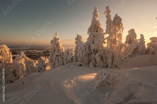 Fotografie, Obraz  A landscape covered with snow at a mountain ski resort at sundown