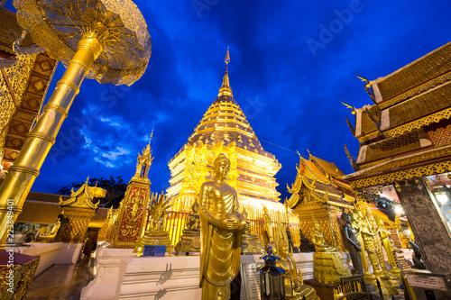 In de dag Temple beautiful night landscape of the pagoda of Wat Pra That Doi Suthep, Chiangmai, Thailand