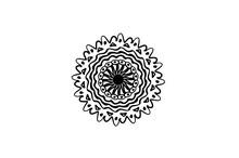 Black Vector Mandala On White ...