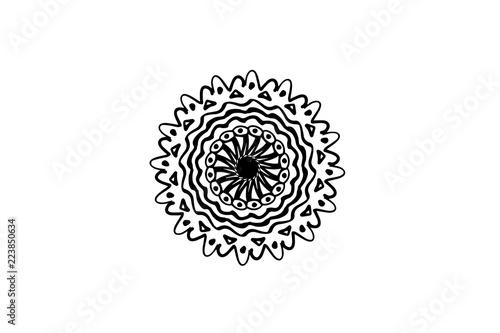 Fotografía  Black vector mandala on white background