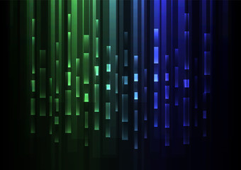 green blue overlap pixel speed in dark background, geometric layer motion backdrop, simple technology template, vector illustration