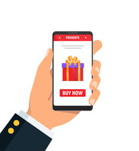 Close-up Of Person Hands Holds Phone With Red Gift Box On Screen. Concept Using Online Shopping For Different Holidays. Christmas, Valentines Day And Womens Day. Vector Illustration In Flat Style.