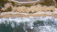 Drone View Of The Beach In Half Moon Bay San Francisco