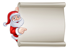 Santa Claus Christmas Cartoon Character Peeking Around And Pointing At A Scroll Banner Sign