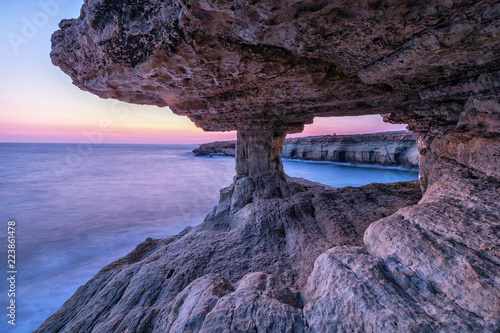 Veiw from sea cave at dusk on Cape Greco near Ayia Napa, Cyprus (HDR image)