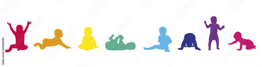 Fototapety, obrazy: Frise-Bébés-couleurs