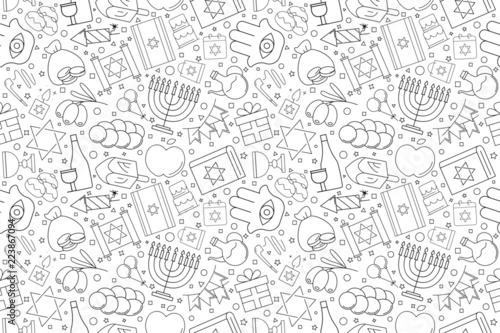 Fototapeta Hanukkah background from line icon. Linear vector pattern. Vector illustration obraz