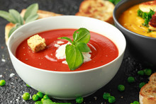 Tomato And Fresh Basil Soup Wi...