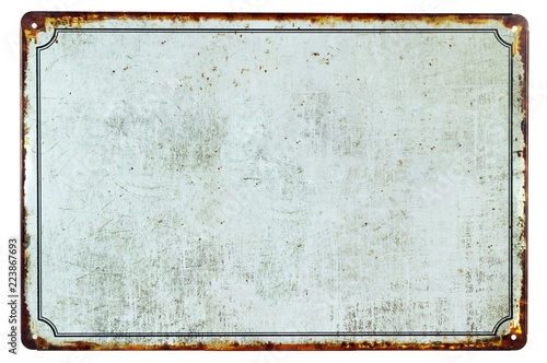 Foto op Aluminium Metal A old blank rusty metal sign with a copy space background for your text