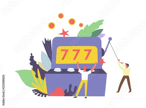 Fotomural 777 Gambler and machine for winning money isolated vector