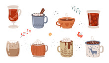 Vector Collection Of Hot Drinks. Hot Chocolate, Coffee, Cocoa With Whipped Cream And Marshmallow, Mulled Wine. Autumn And Winter Holidays