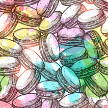 Macaroons Sketch Colorful Seampless Pattern With Watercolor Effect