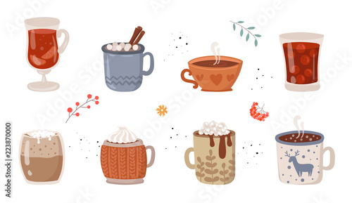Photo Vector collection of hot drinks