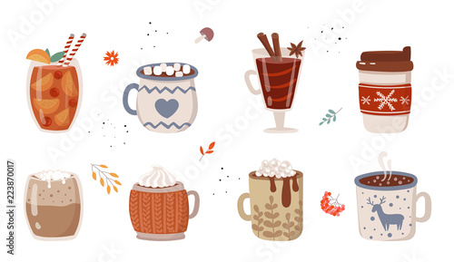 Fotografia Vector collection of hot drinks