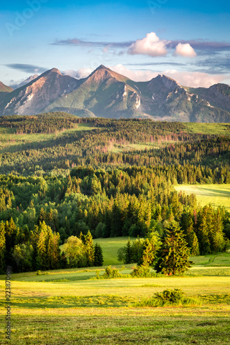 Stunning sunset at Belianske Tatra mountains in summer