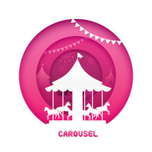 Carousel With Paper Cut Style. Vector Illustration Of Carnival Funfair Theme