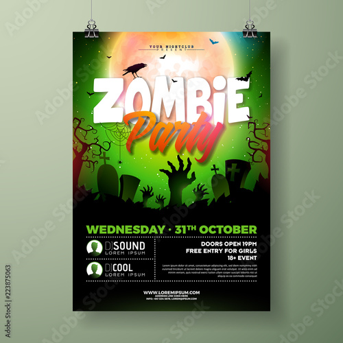 Fototapeta Halloween Zombie Party Flyer Illustration With Cemetery And Mysterious Moon On Green Background Vector Holiday Design Template With