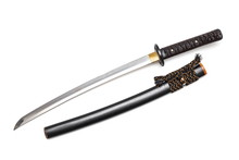 Brown Leather Cord Tie On Grip Japanese Sword Steel Fitting And Black  Scabbard On White Background.