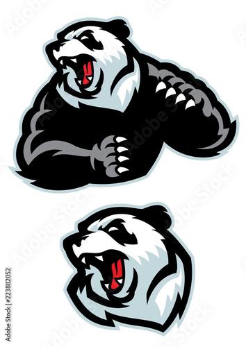 Fototapeta premium panda w sportowym zestawie maskotka zły