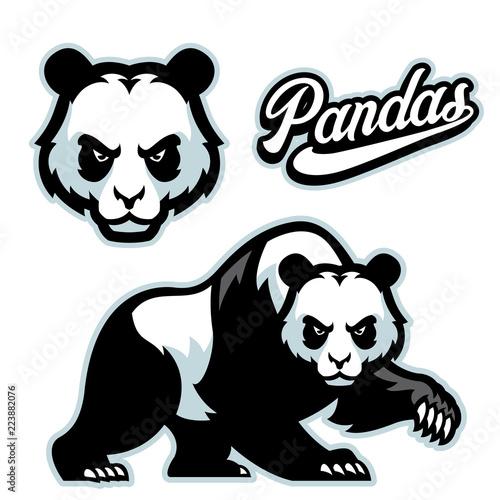 Fototapeta premium panda maskotka istyle z oddzieloną głową