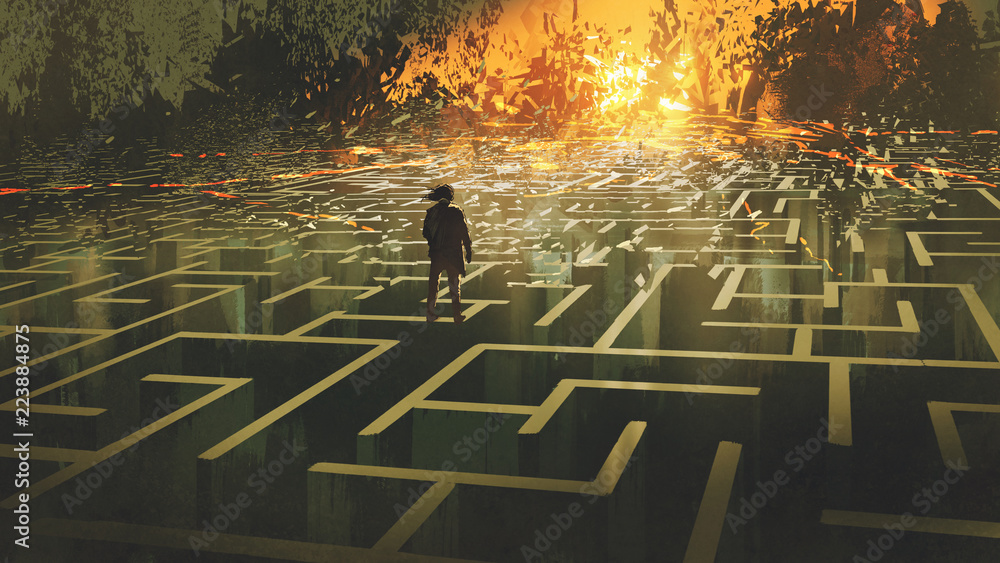 Fototapeta destroyed maze concept showing the man standing in a burnt labyrinth land, digital art style, illustration painting