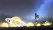 Leinwanddruck Bild - astronaut looking at stars on the grass, digital art style, illustration painting